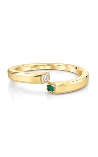 18K Yellow Gold Diamond & Emerald Halo Bypass Bangle