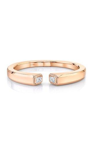 18K Rose Gold Diamond Halo Illusion Bangle