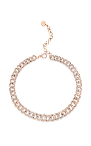 18K Rose Gold Pave Diamond Geo Link Choker