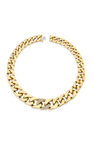 18K Yellow Gold Flat Link Puzzle Necklace
