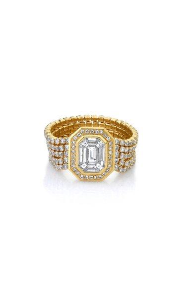 18K Yellow Gold 5 Thread Diamond Illusion Stacks Ring