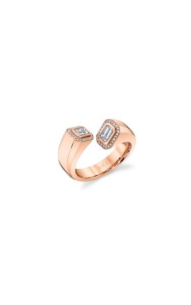 18K Rose Gold Diamond Halo Bypass Ring