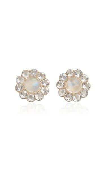 18K Yellow Gold Moonstone, Topaz Earrings