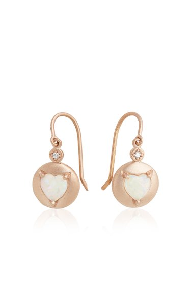 18K Rose Gold Opal Earrings