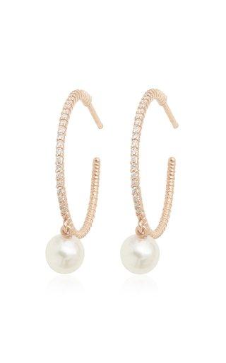 18K Rose Gold Diamond, Pearl Hoop Earrings
