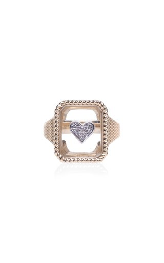 18K Yellow Gold Crystal Heart Ring