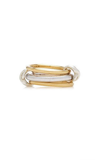 Triple Circle 14K Yellow and White Gold-Plated Ring
