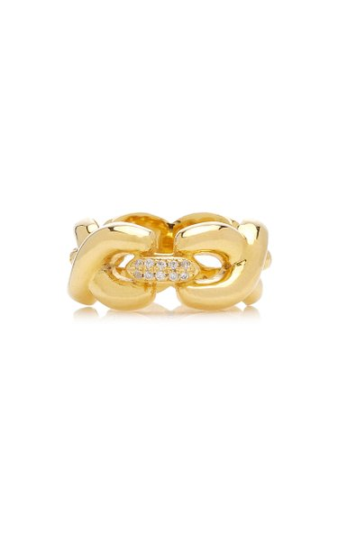 Three Cubic Link Crystal 14K Yellow Gold-Plated Ring