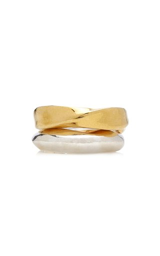 Three-Curve 14K Gold-Plated, Sterling Silver Ring