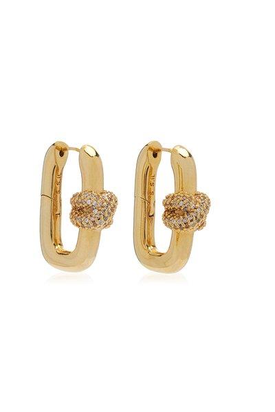 Shine Lock 14K Yellow Gold-Plated Crystal Earrings