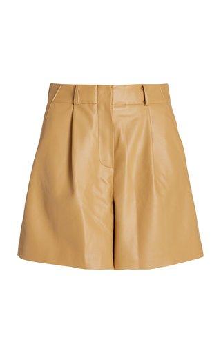 Manon Pleated Vegan Leather Shorts