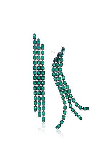 Nakard Triple Line Sterling Silver Onyx Earrings