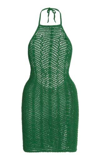 Noelie Crocheted Cotton Mini Halter Dress