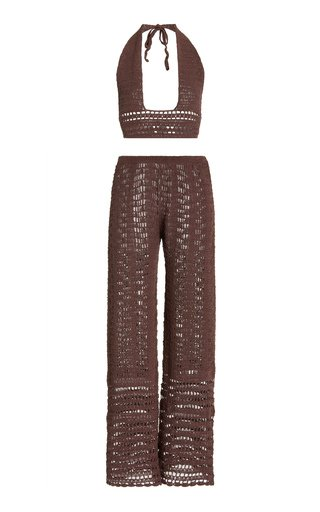 Zo Crocheted Cotton Top and Pants Set