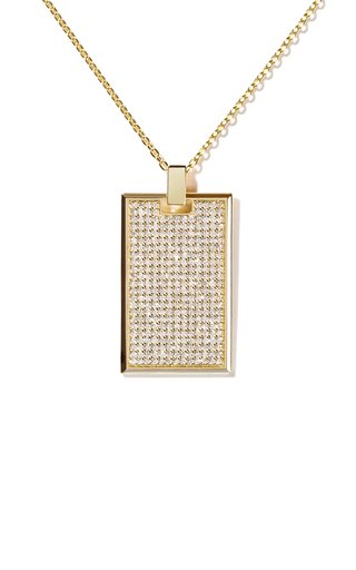 Large 18K Yellow Gold Diamond Tag Necklace