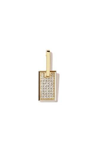 Small 18K Yellow Gold Diamond Single Tag Earring