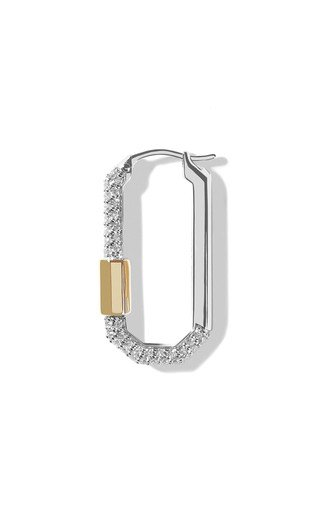 Medium 18K White and Yellow Gold Diamond Single Lock Earring