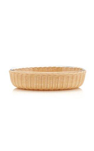 Rattan/Pyrex Oval Platter Medium
