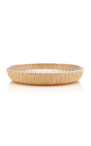 Rattan/Pyrex Round Platter Medium