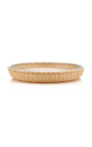 Rattan/Pyrex Round Platter Large