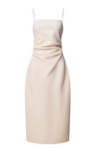 Draped Wool Midi Cocoon Dress