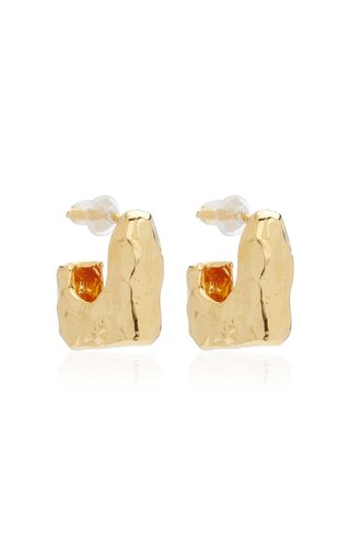Nur Gold-Plated Hammered Hoop Earrings