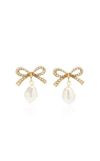 Noelle Pearl and Crystal-Embellished Brass Earrings