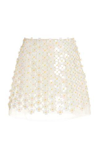 Gazelle Floral-Appliqued Organza Mini Skirt