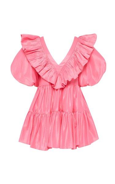 Le Mempris Tiered Ruffled Cotton Mini Dress