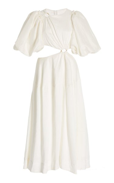 Vanades Cutout Linen-Blend Midi Dress