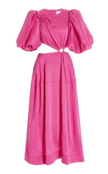 Vanades Cutout Ring Linen-Blend Midi Dress
