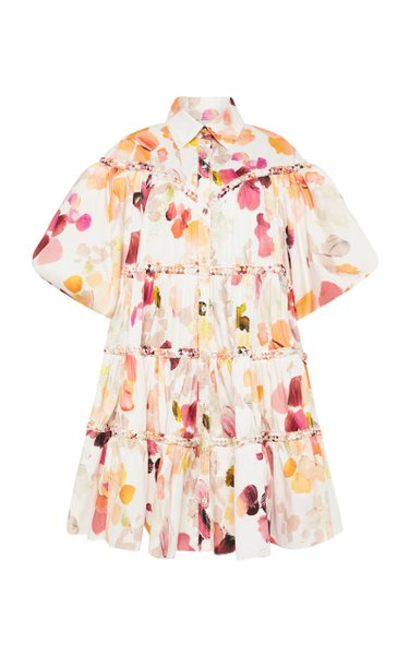 Dassia Puffed-Sleeve Cotton Shirt Dress