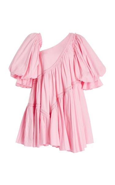 Casabianca Puffed-Sleeve Cotton Mini Dress