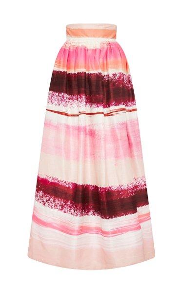 Kasbah Striped Linen-Blend Maxi Skirt