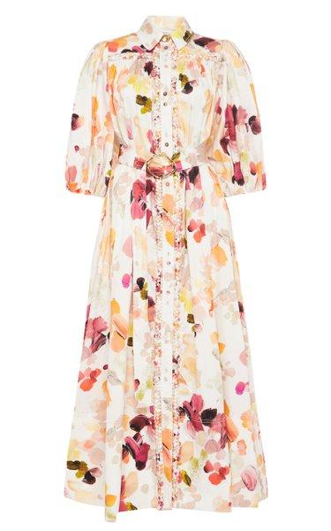 Dassia Printed Cotton Midi Shirt Dress