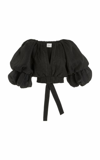 Impression Puff-Sleeve Voile Crop Top