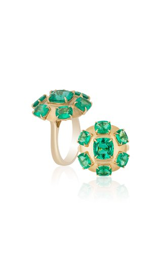 One of a Kind Emerald Flower Seven Stone Cushion Ring