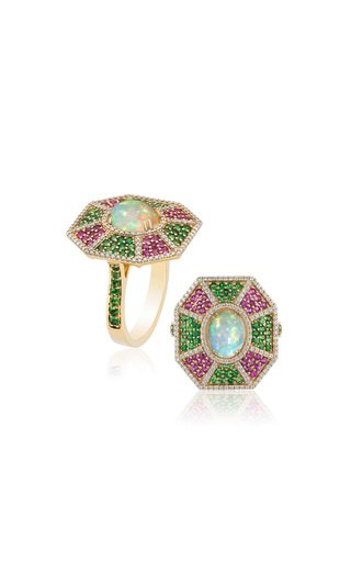 One of a Kind Opal Cab Ring With Tsavorite & Pink Sapphire