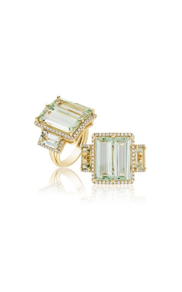 One of a Kind Four Stone Emerald Cut Beryl Ring