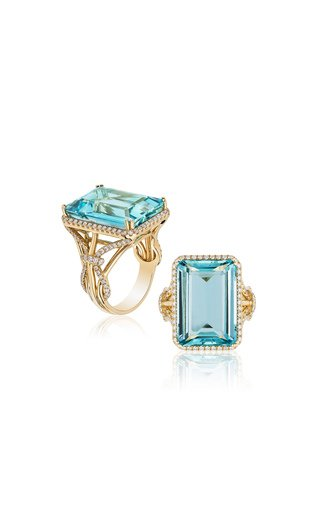 One of a Kind Aquamarine Emerald Cut Ring