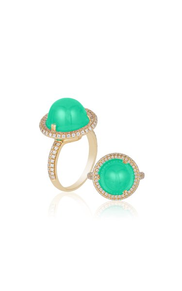 One of a Kind Chrysoprase Cabochon Ring