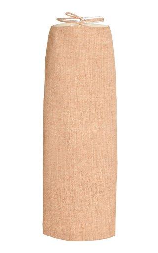 Crystal-Trimmed Linen Maxi Skirt