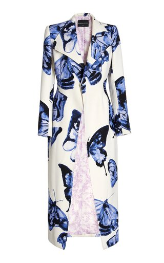 Butterfly-Printed Wool-Blend Coat