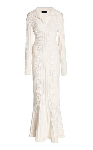 Cable-Knit Wool Midi Dress