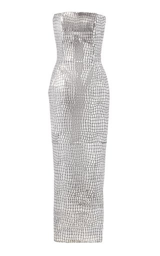 Croc-Effect Foiled Leather Strapless Midi Dress