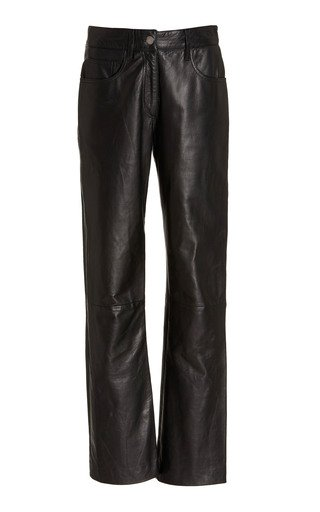 Flared-Leg Leather Pants