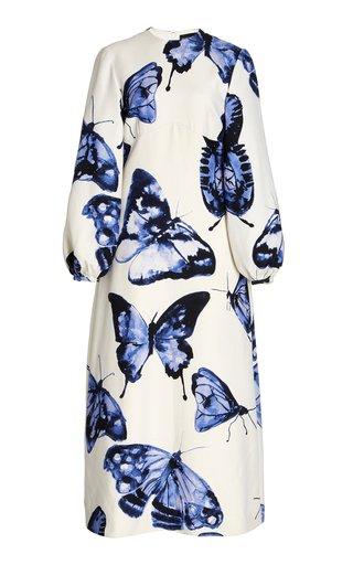Butterfly-Printed Wool-Silk Midi Dress