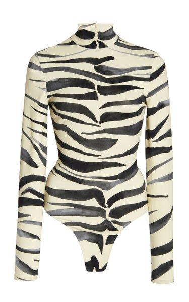 Animal-Print Stretch-Jersey Bodysuit
