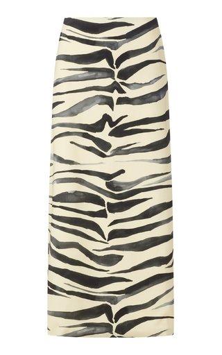 Zebra-Print Jersey Midi Skirt