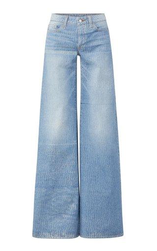 Alligator-Print Rigid Low-Rise Wide-Leg Jeans